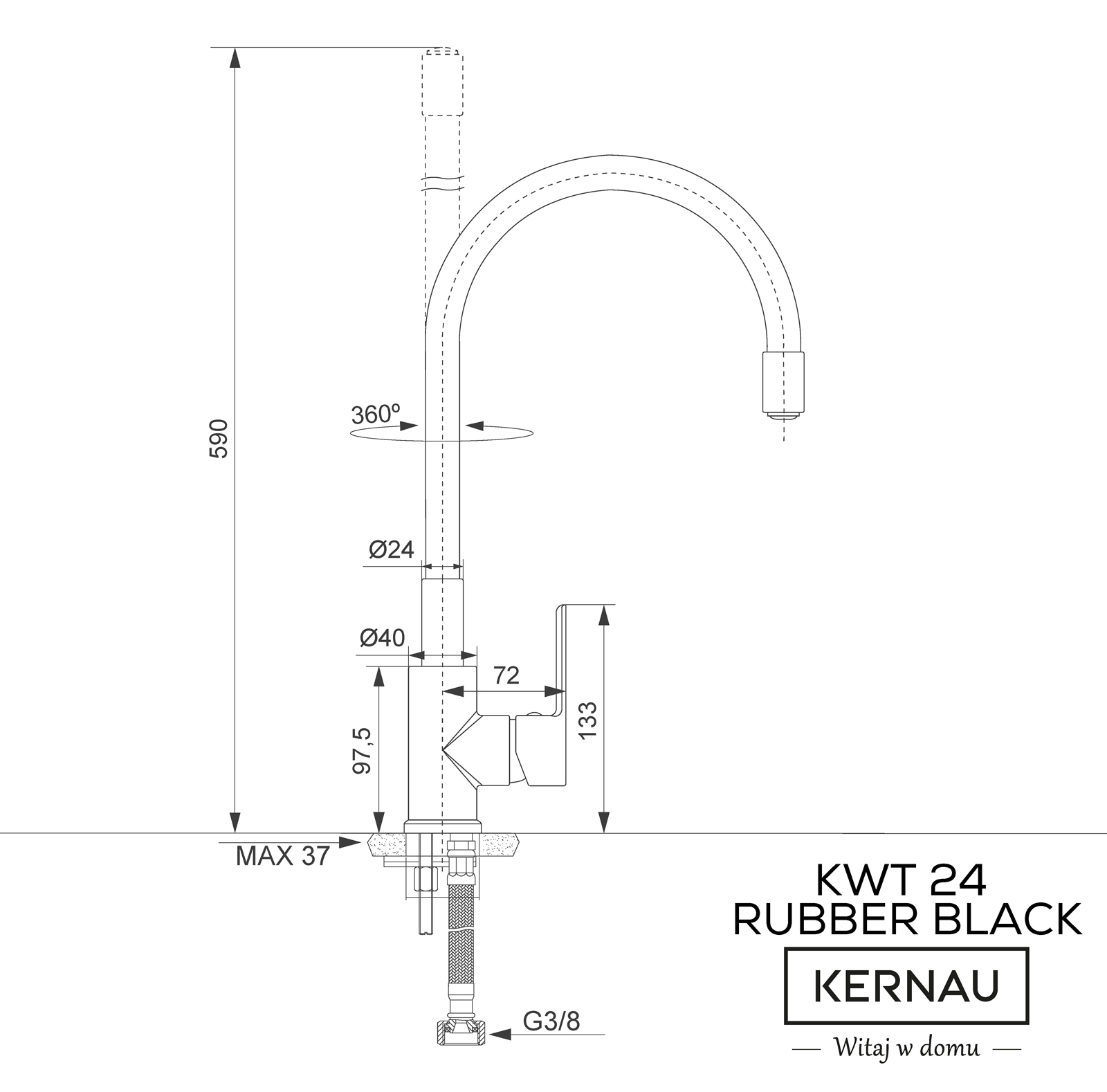 KWT 24 RUBBER BLACK